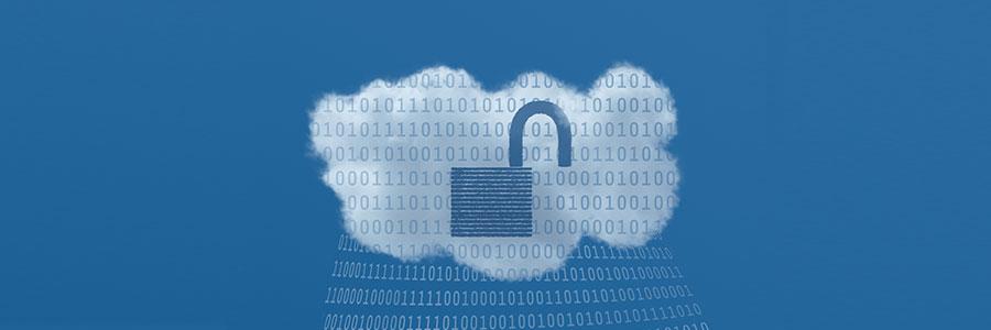 Unlocked padlock in cloud