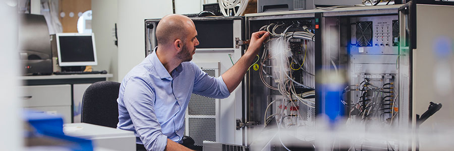 man working on a server