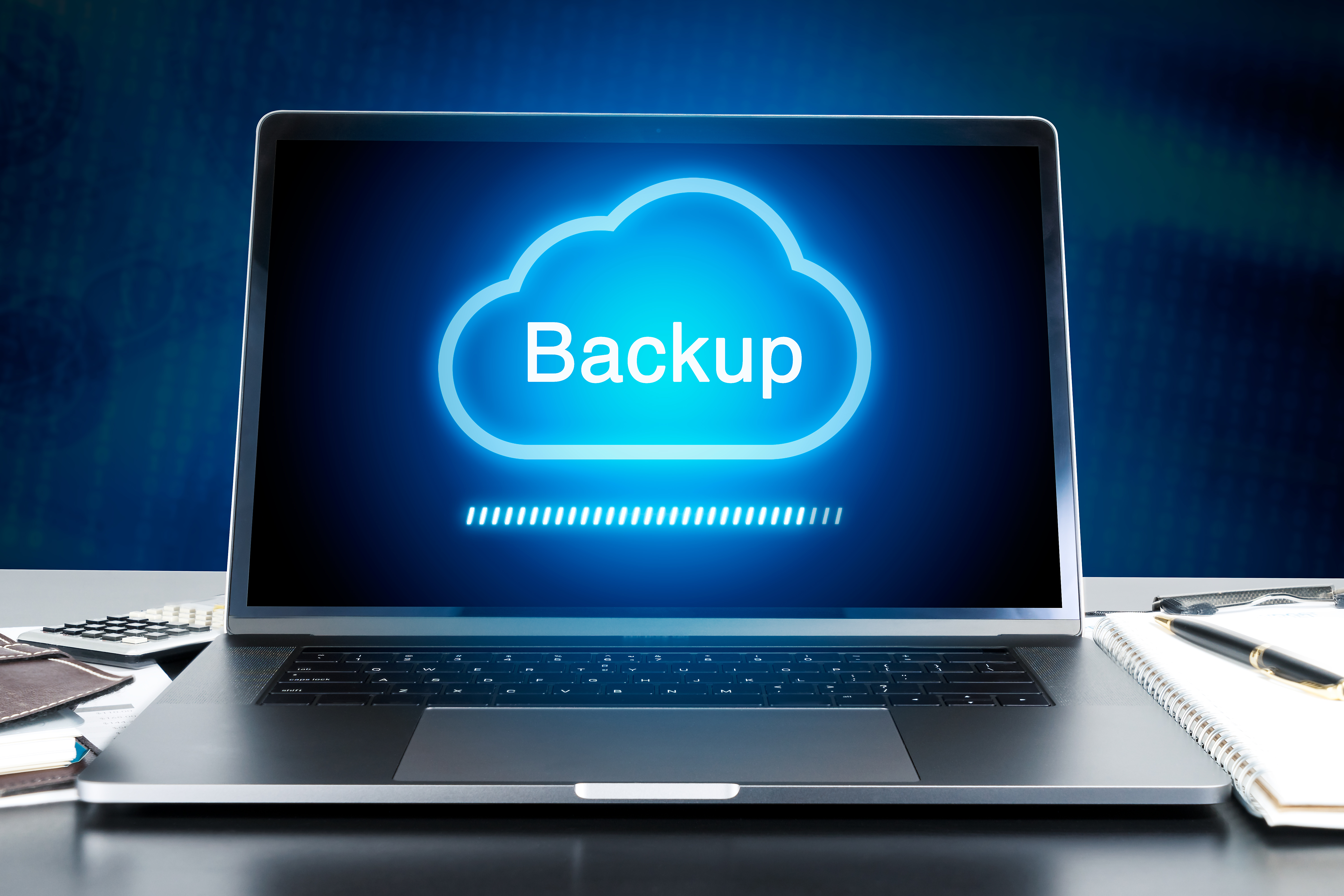 Cloud Data Backup on a laptop